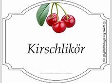 Gratis Etiketten Vorlagen für Kirschlikör PDF Drucken