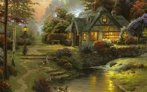 2560x1600 Stillwater Cottage, Thomas Kinkade, Painting ...