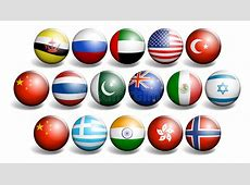 Different Country Flags On Round Ball Stock Vector