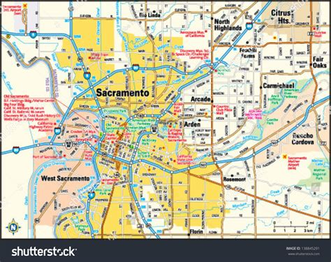 sacramento map  california  travel information