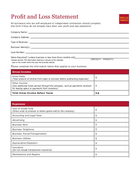 free printable profit and loss statement form profit loss statement template 9 free pdf excel