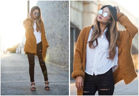 Brandy Melville Usa White Peyton Shirt, Choies Khaki Lavel Chunky Knit Cardigan