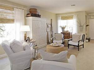White Coastal Cottage Living Room With Jute Accents HGTV