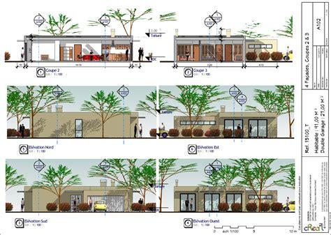 plan maison moderne plain pied toit plat mc immo