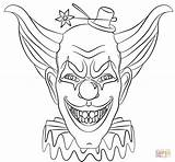Coloring Clown Printable Scary Evil Face Popular sketch template