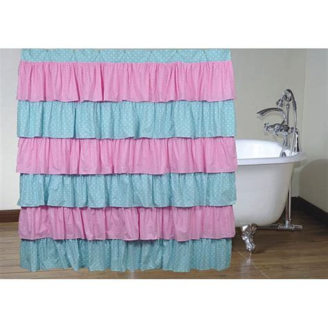pink ruffle shower curtain pink and blue polka dot ruffled shower curtain 14112591