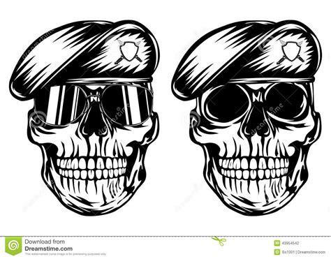 skull in beret with dagger vector illustration cartoondealer 39416828