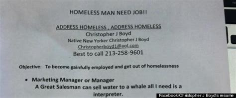 What To Say When Handing Out A Resume by Christopher J Boyd Homeless Out Resumes On
