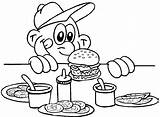 Hamburger Coloring Pages Burger Printable Cheeseburger Fries Getcoloringpages Outline Clip sketch template
