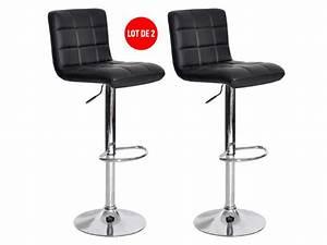 Chaise Bar Reglable : lot de 2 tabourets de bar r glable avec assise rotative nala coloris noir vente de chaise de ~ Teatrodelosmanantiales.com Idées de Décoration