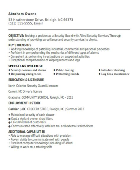 Resume For A Security by Security Guard Resumes 10 Free Word Pdf Format