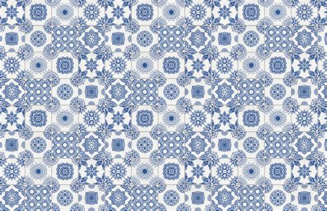 White and Blue Portuguese Tiled Wallpaper
