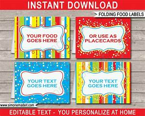 colorful food labels place cards printable birthday With colorful labels templates