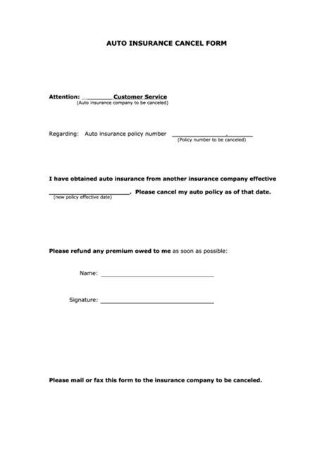 Fillable Auto Insurance Cancel Form printable pdf download