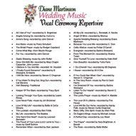 wedding music ceremony solo song list page for singer diane martinson mpls mn wedding