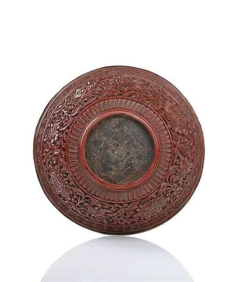 cinnabar wood a fine lacquer bowl wood with cinnabar red carved lacquer decor china 1st half of the ming