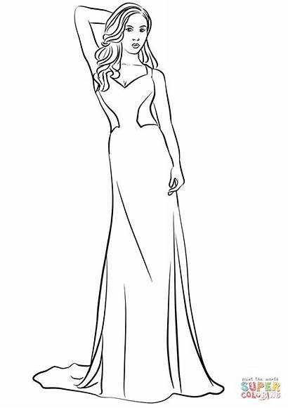 Coloring Prom Pages Drawing Printable Neck