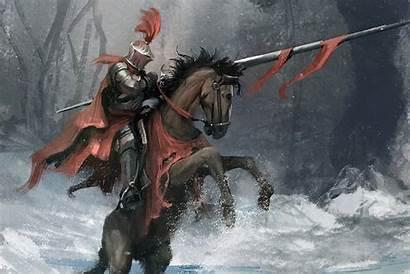 Knight Fantasy Horse Warrior Armor Winter Snow