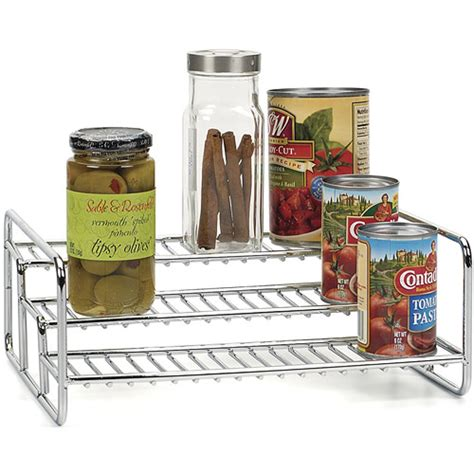 kitchen cabinet shelf risers three tier can rack in shelf risers and organizers