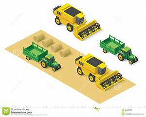 Vector Isometric Farm Vehicles Set Stock Vector
