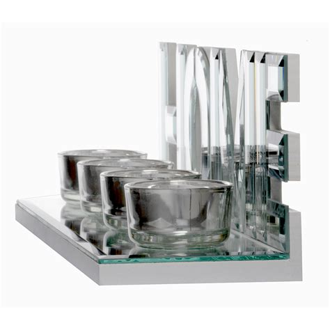 mirrored tea light candle holders mirrored glass 4 tealight candle holder diamante home
