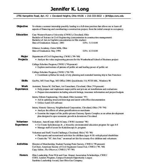 Engineering Intern Resumes by Engineering Internship Resume Exles Free Resume Builder