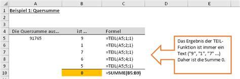 quersumme berechnen formel quersumme  excel berechnen