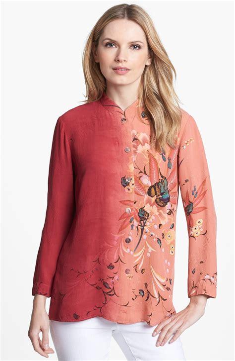 mandarin collar blouse citron mandarin collar silk blouse in melon