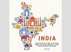 Símbolos tradicionais indianos, sob a forma de mapa da