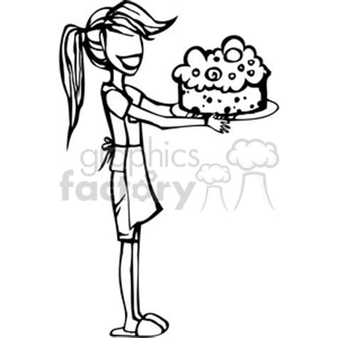 royalty  girl baking  cake  vector clip art