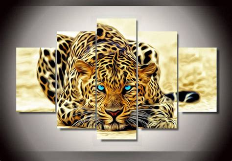 Framed Canvas Prints Pictures Abstract Leopard Tiger Wall