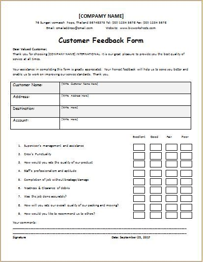 feedback template customer feedback questionnaire template ms word word excel templates