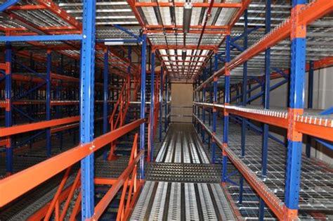 multi tier mezzanine floor rack system  warehouse