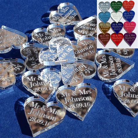 personalised love hearts wedding favours mr mrs table