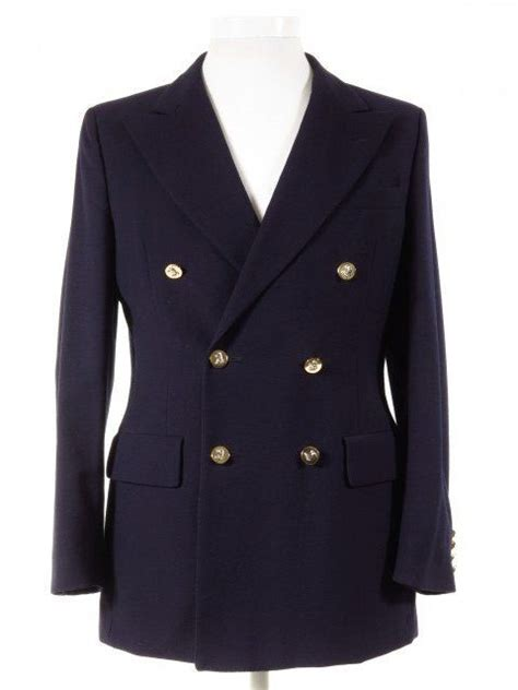 austin reed navy wool double breasted blazer  metal
