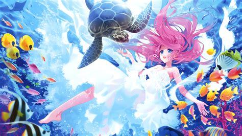 Kawaii Wallpaper Anime - wallpaper kawaii mermaid turtle fishes underwater hd