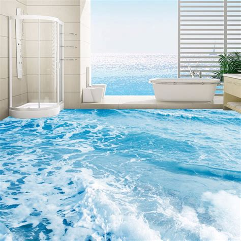 custom  floor mural wallpaper sea water waves floor