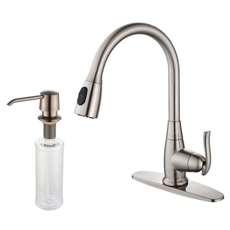 single handle high arc kitchen faucet kraus single handle stainless steel high arc pull down sprayer kitchen faucet with soap