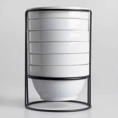 white stacking bowl set   stacking bowls dishware sets countertop storage