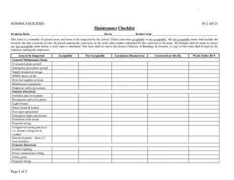 maintenance checklist samples templates  ms