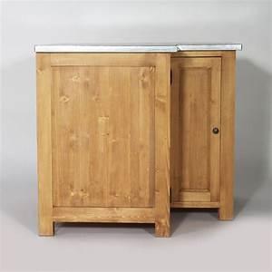 Cuisine Bois Massif : meuble angle cuisine en bois plateau zinc campagne made ~ Premium-room.com Idées de Décoration