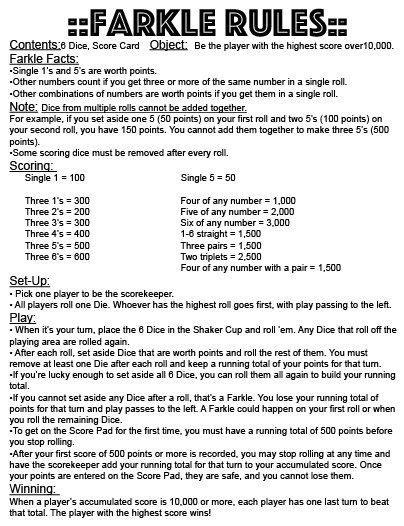 farkle rules instant  print