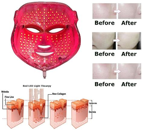 led light therapy before and after use infrared on your face for good skin
