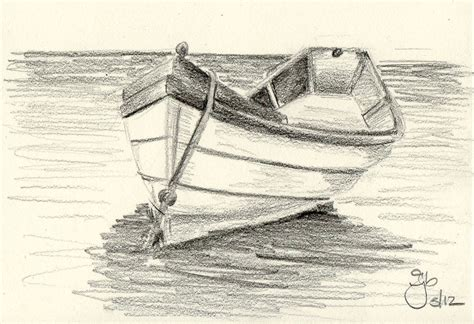 How To Draw A Bass Boat Step By Step by Boat On Water 4x6 Pencil Study Boating