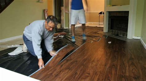 wood vinyl tile flooring installation timelapse