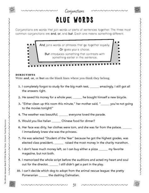 20 best images of free conjunction worksheets first grade