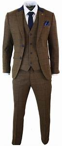 costume 3 pieces homme tweed marron carreaux bleu marine With costume homme carreaux