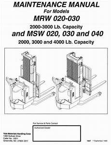 Original Illustrated Factory Workshop Service Manual For Yale Stacker Type Mrw  Msw Original