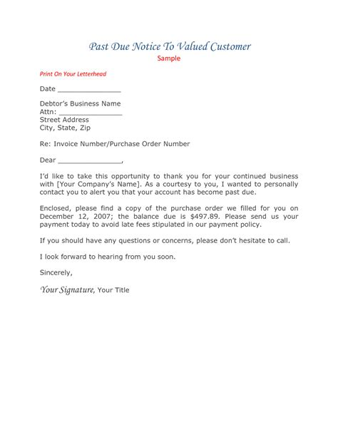 due invoice letter template collection letter cover