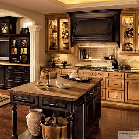 kitchen island with corbels kraftmaid cabinetry in burnished vintage onyx